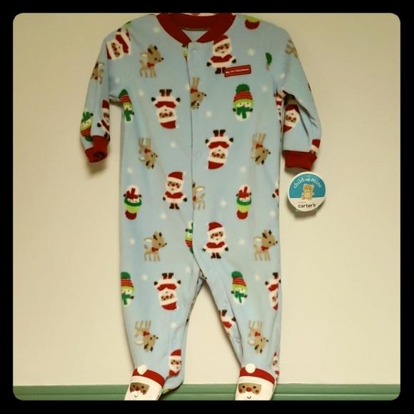 Carters Fleece Footed pajama Blanket Sleeper 10 12 14  Stripes Santa Feet NWT